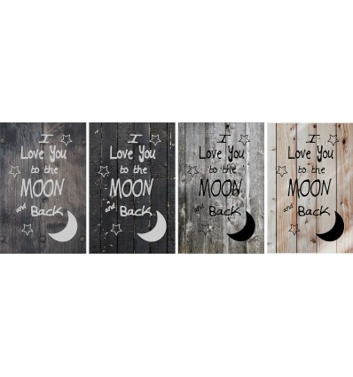 Skilt 125 - Love your to the moon (4 stk) assorteret baggrund